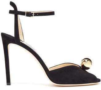 Jimmy Choo Sacora 100 Suede Sandals - Womens - Black