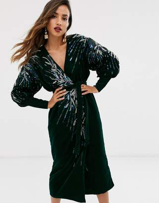 Asos Edition EDITION velvet wrap midi dress with embellished placement