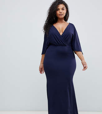 Club L Plus wrap front maxi dress