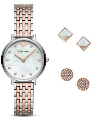 Emporio Armani Stud Earrings & Two-Tone Watch Gift Set, 32mm