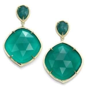 Ila Keely Green Onyx, Emerald & 14K Yellow Gold Drop Earrings