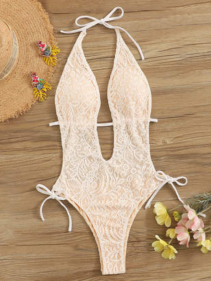 Shein Open Back Lace Overlay Drawstring One Piece Swimsuit