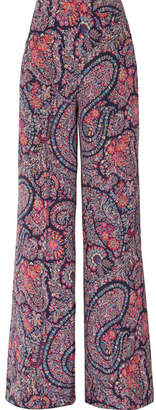 Etro Printed Silk Crepe De Chine Wide-leg Pants - Black
