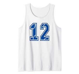 Baseball Number 12 Blue Sports Player Uniform Jersey Tank Top