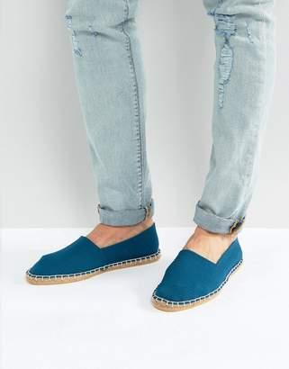 Asos Slip On Espadrilles In Textured Blue Stripe