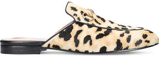 Princetown leopard calf-hair slippers