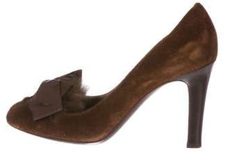 Philosophy di Alberta Ferretti Fur-Trimmed Bow Pumps
