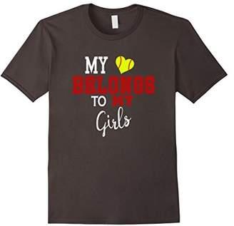 My Heart Belongs To My Girls Softball MOM Tshirt Shirt