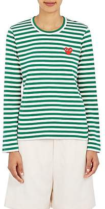 Comme des Garcons Women's Heart Striped Cotton T-Shirt - Green, White