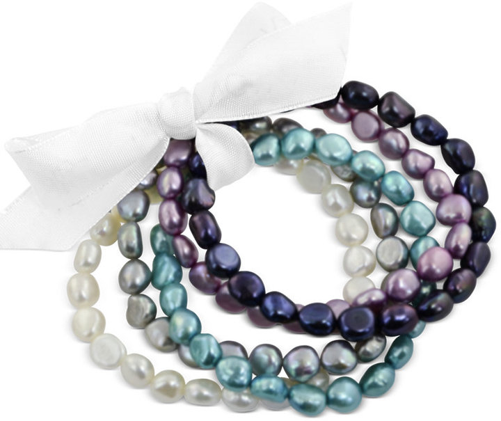 Honora Style Multicolor Baroque Cultured Freshwater Pearl Bracelet Set in Sterling Silver