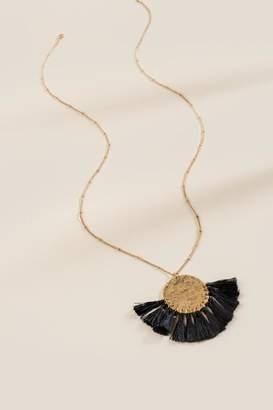 francesca's Ariel Worn Coin Tassel Pendant Necklace - Black