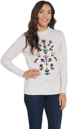 Denim & Co. Crew Neck Long-Sleeve Sweater with Embroidery