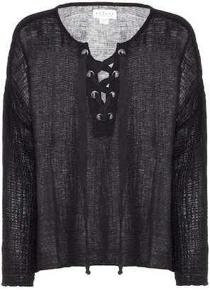 Velvet Alina lace-up cotton top