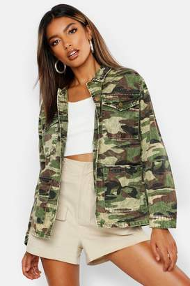 boohoo Acid Wash Camo Denim Jacket