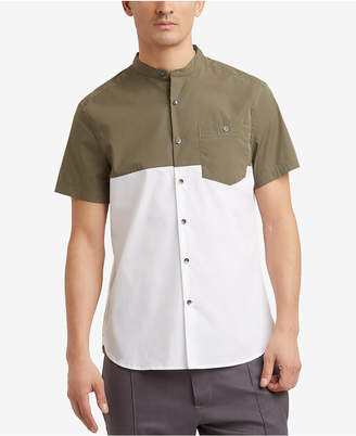 Kenneth Cole Colorblocked Band-Collar Pocket Shirt