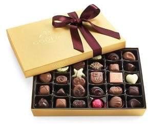 Godiva Chocolatier Assorted Chocolate Gold Gift Box, Wine Ribbon, 36 pc.
