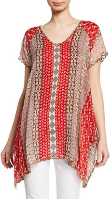 Johnny Was Holiday Printed Short-Sleeve Georgette Tunic