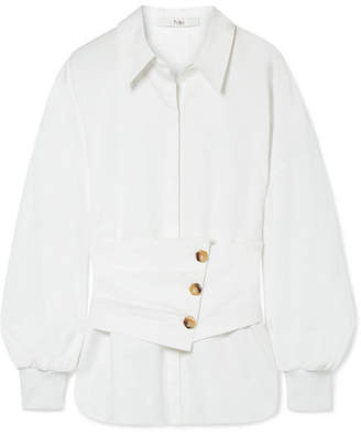 Tibi Layered Cotton-poplin Shirt - White