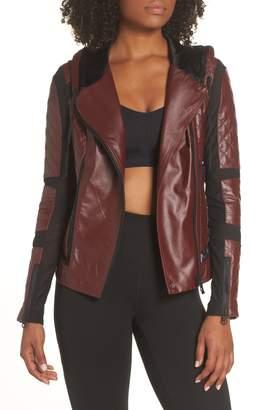 Blanc Noir Voyage Hooded Leather & Mesh Moto Jacket