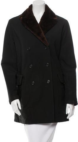 pradaPrada Fur-Trimmed Double-Breasted Coat