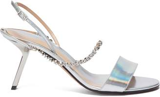 Ballin Alchimia di Slanted heel glass crystal strap holographic leather sandals