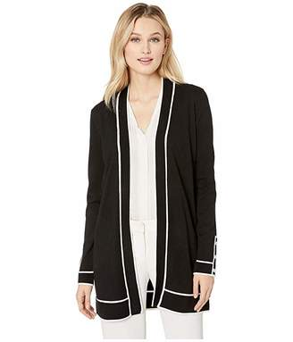 Calvin Klein Cardigan with Rib Detail and Piping