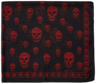 Alexander McQueen Black and Red Silk Skull Scarf