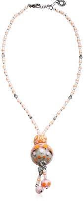 Antica Murrina Papaya 3 Orange Pendant Necklace w/Pastel Murano Glass Beads $65 thestylecure.com