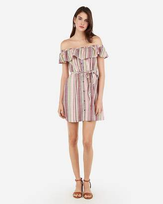 Express Striped Off The Shoulder Button Front Mini Dress