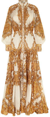 Zimmermann Zippy Printed Silk Maxi Dress - Gold