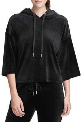 Donna Karan Active Velvet Cropped Hoodie