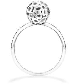 "Parker Hi June Jewelry New York Sterling Silver & White Diamond Ring ""Rotunda"""