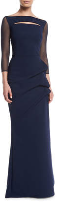 Chiara Boni Kate Illusion Gown w/ Front Cutout