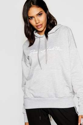 boohoo Bad Habits Slogan Hoody