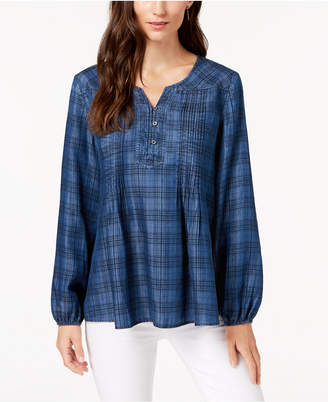 Style&Co. Style & Co Plaid Pintucked Peasant Top
