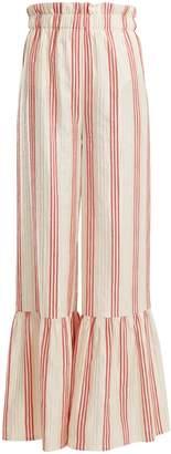 Vilshenko Cecile striped-satin jacquard wide-leg trousers