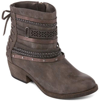 POP Womens Sarene Booties Block Heel Zip
