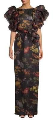 Rosie Assoulin Floral Ruffled Silk Gown