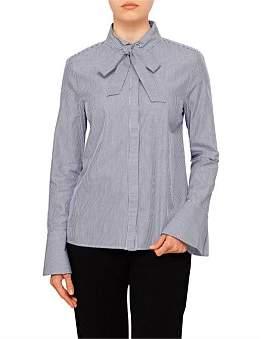 Armani Exchange Tie Neck Cotton Shirt
