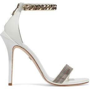 Roberto Cavalli Chain-Trimmed Leather Slides