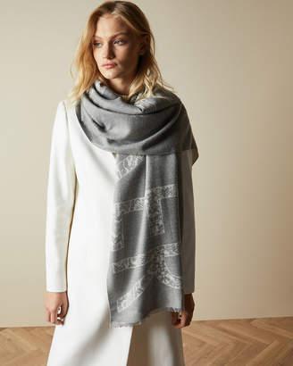 Ted Baker SNAKITA Reversible branded exotic print scarf