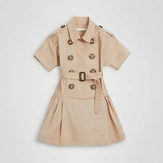 Burberry Stretch Cotton Trench Dress , Size: 3Y, Yellow