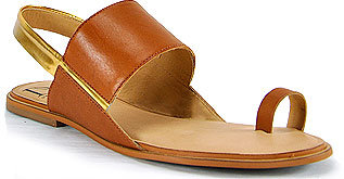 Diane von Furstenberg - Klee - Tan Leather Toe Ring Flat Sandal