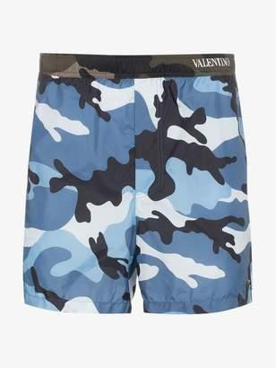 Valentino blue camouflage print swim shorts