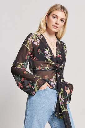 Forever 21 Floral Wrap-Front Top
