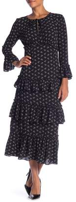 Max Studio Long Sleeve Ruffle Tiered Dress