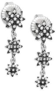 Freida Rothman Graduated Starburst Crystal and Sterling Silver Drop Earrings