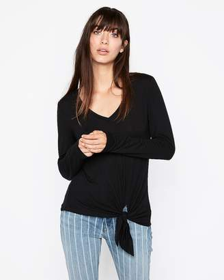 Express Petite One Eleven V-Neck Tie Front Slim Tee