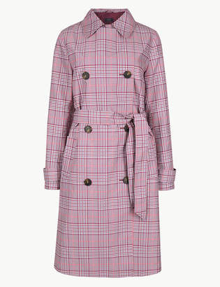 Marks and Spencer Checked Double Breasted Trench Coat