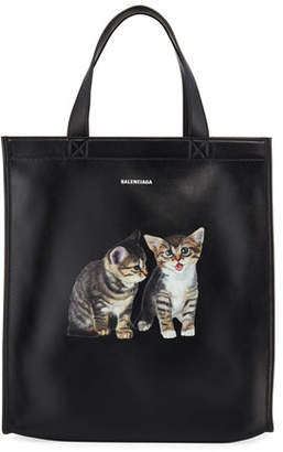 Balenciaga Men's Market Small Kitten Graphic Leather Shopper Tote Bag